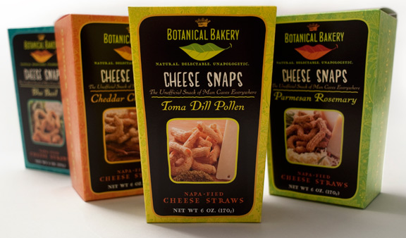 Botanical Bakery's Cheese Snaps Package Design by David Brier