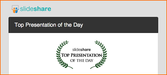 Slideshare chooses David Brier latest as Top Presentation for the Day