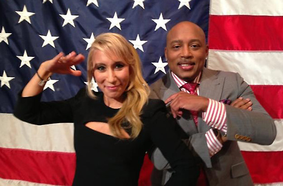 On the Shark Tank Set: Daymond John and Lori Greiner