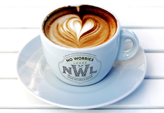 The Coffee Mug for No Worries Lodge by David Brier