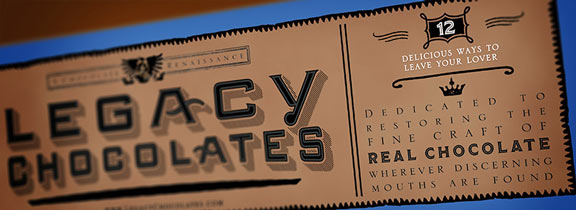 Legacy Chocolates branding and package design by David Brier