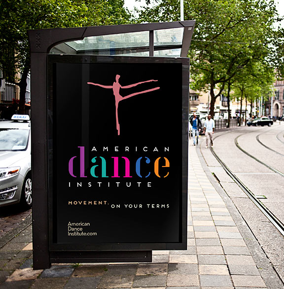 American Dance Institute Branding outdoor signage