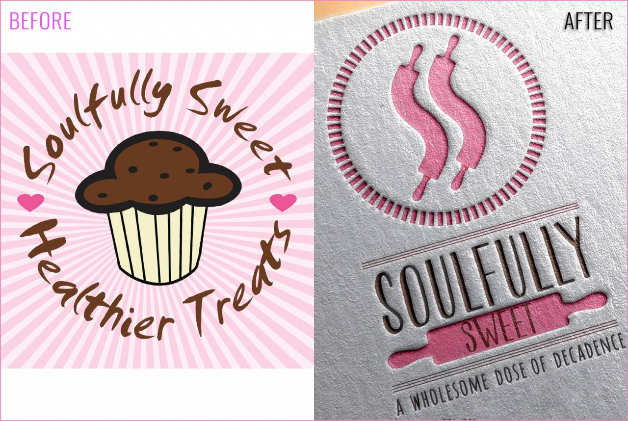Soulfully Sweet Rebranding -- before and after