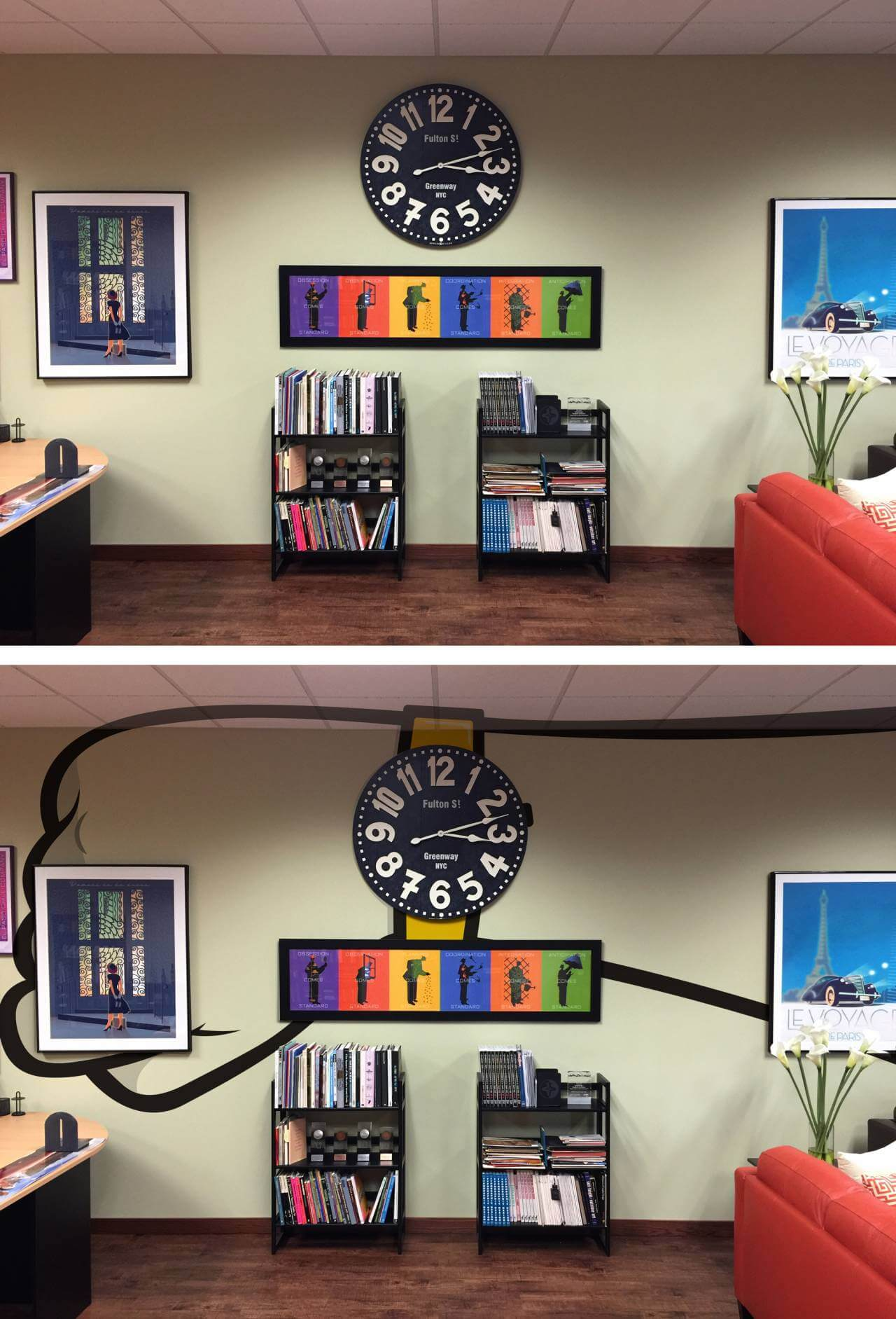 before and after office interior