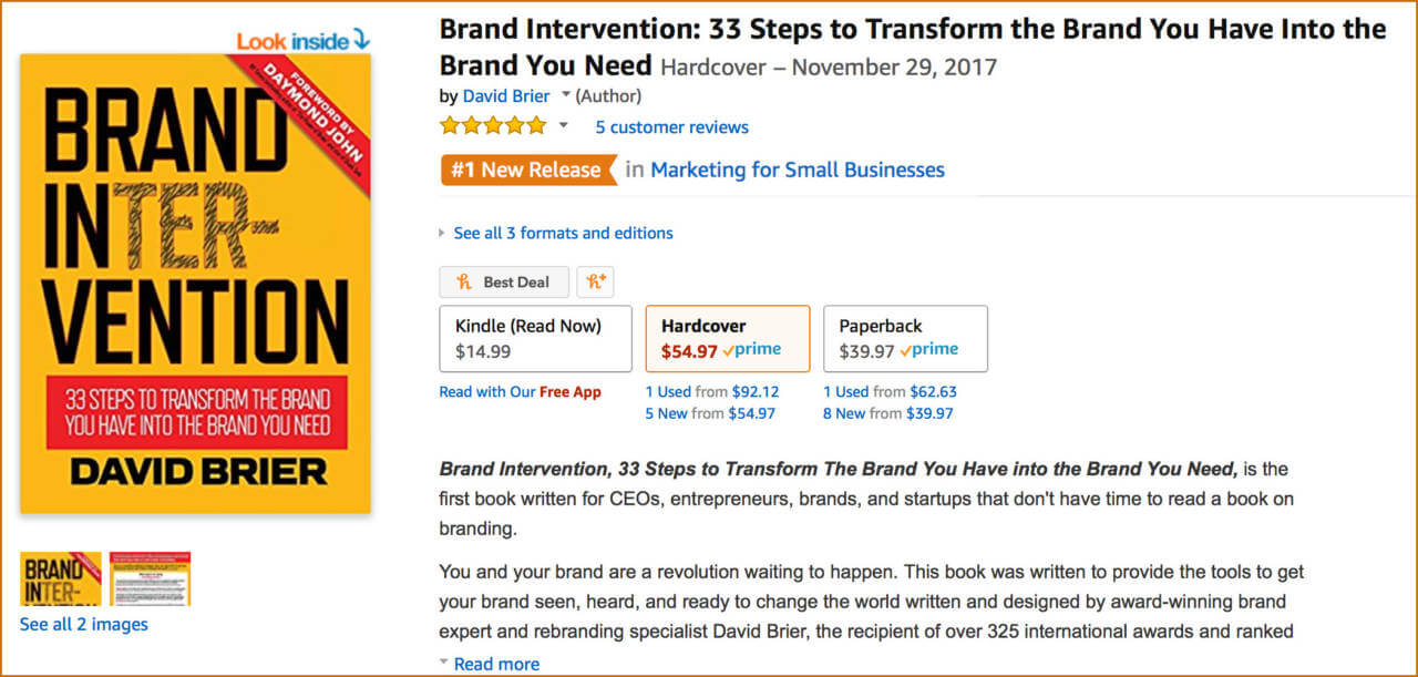 Brand Intervention bestseller by David Brier