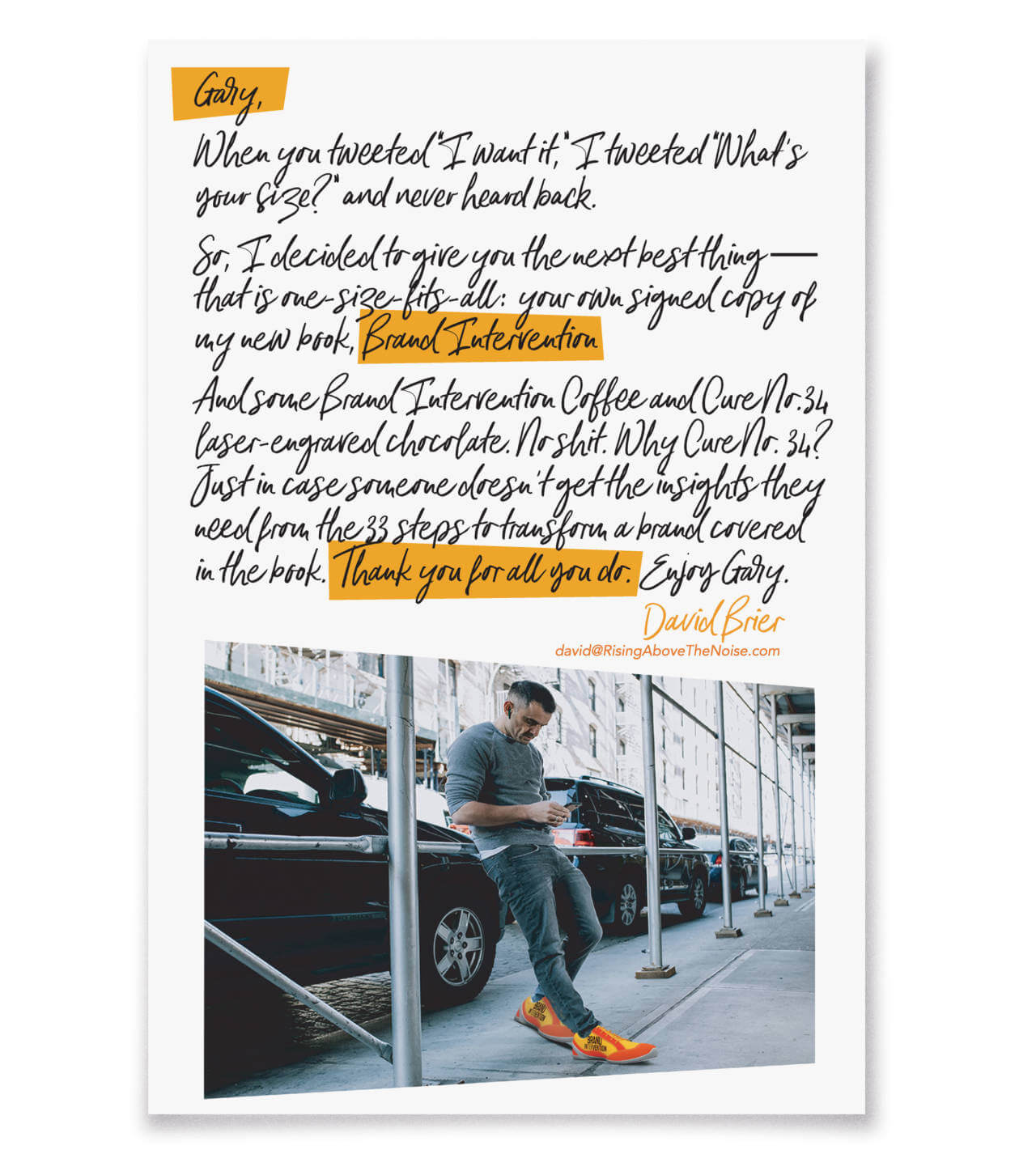 Gary Vee Letter and his Sneaker Box from David Brier