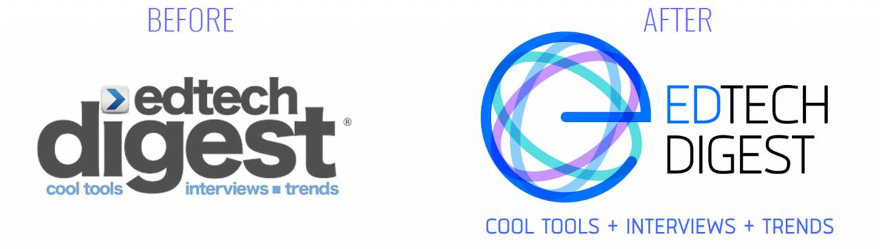 before and after logo design for edtechdigest