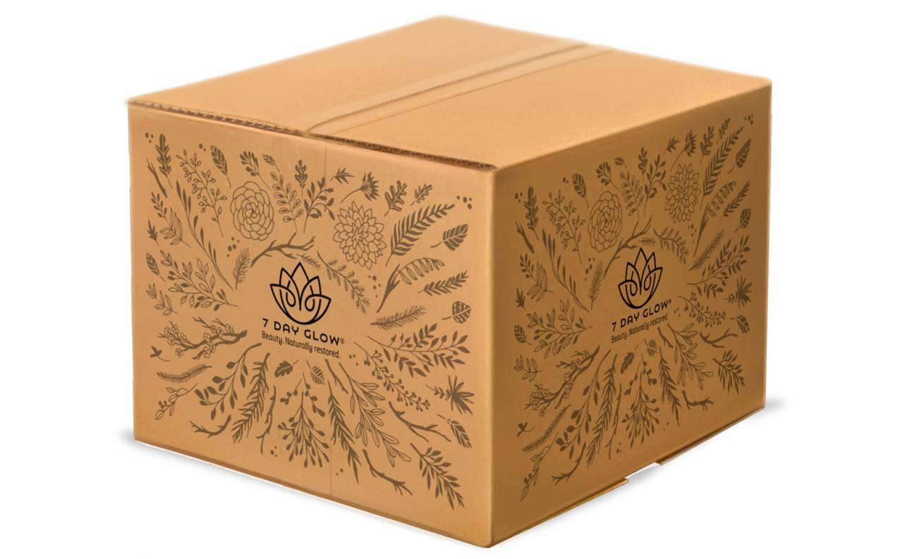 rebranding of 7 Day Glow, shipping box